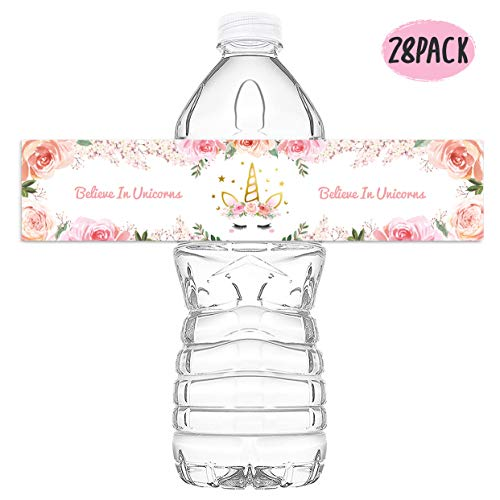 KREATWOW Magical Unicorn Water Bottle Wraps Waterproof Baby Shower Birthday Party Unicorn Stickers Labels28 Pack