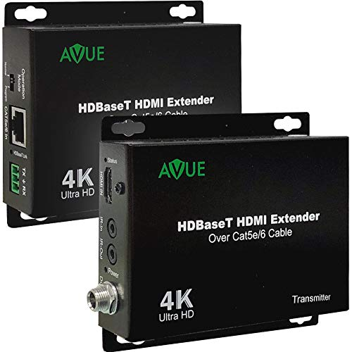 4K HDBaseT HDMI Extender Over Single Cat5e/6 up to 250ft for 1080P and 150ft for 4K Bidirectional IR Control HDCP 2.2/1.4 Compliant No Power Needed on Receiver