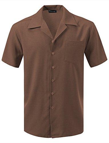 7 Encounter Men's Camp Dress Shirt Brown Size XL