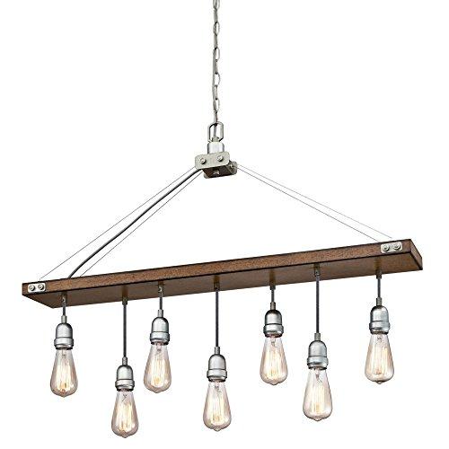 Westinghouse Lighting 6351500 Elway Seven-Light Indoor, Barnwood Finish with Galvanized Steel Accents CHANDELIER, Barnwood Galvanized