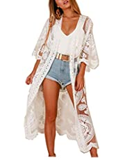 Women Swimsuit Cover Up Bathing Suit Kimono Long Beach Dress Floral Lace Bikini Swim Coverup Sun Protection Clothing