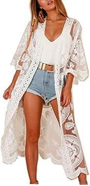 Women Swimsuit Cover Up Bathing Suit Kimono Long Beach Dress Floral Lace Bikini Swim Coverup Sun Protection Cl