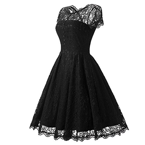 Hot Sale Womens Summer Lace Dress 2018 Vintage O Neck Slim Sexy Rockabilly Party Black,Black,M -