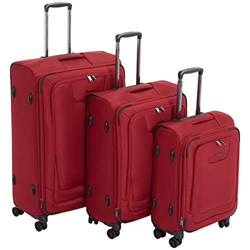 AmazonBasics 3 Piece Expandable Softside Spinner Luggage Suitcase With TSA Lock And Wheels Set - Red