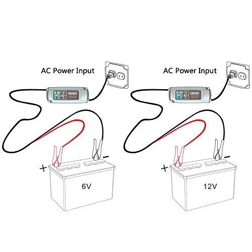 erayak 6v 12v smart battery charger 1a automatic battery