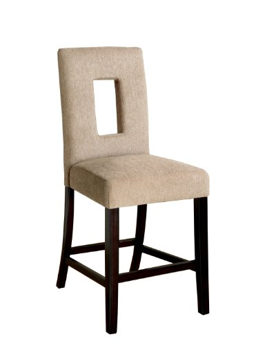 Furniture of America Valyria Padded Fabric Counter Height Chairs, Espresso Finish, Set of - Chair Side Keyhole