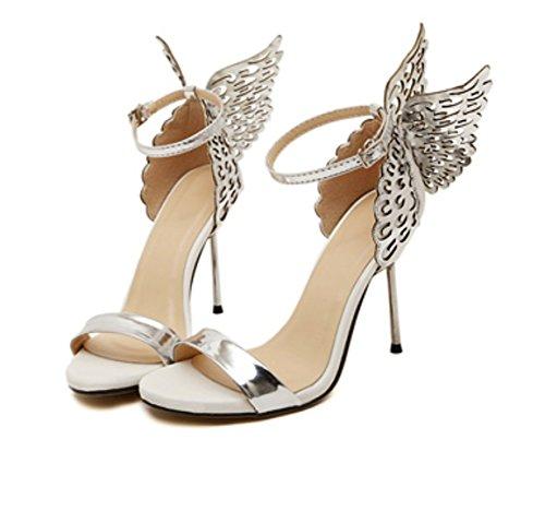 35 WZG silver del alas punta bien nuevas de de sandalias abierta zapatos palabra tridimensional tacón de alto hebilla ángel de las mariposa zapatos la acero con AAS4rq