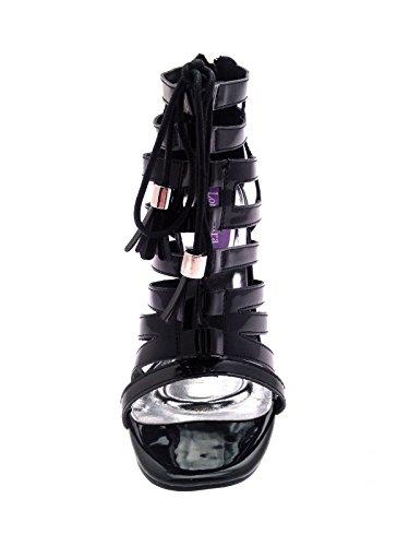 Lora Dora Womens Metallic T-Bar High Heels Black Patent Gladiator iQkiYjk