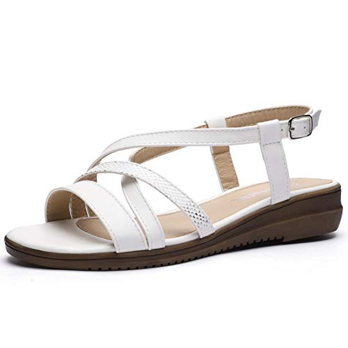 Womens Sandals Comfort Flats Shoes Fishermen Buckle Scales Strap Summer Casual Beach Slipper Slip-on White