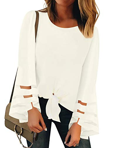LookbookStore Women's Casual Mesh Panel Long Flared Bell Sleeve Shirt Tops Self-Tied Knot Crew Neck Loose Blouse Beige Size Small
