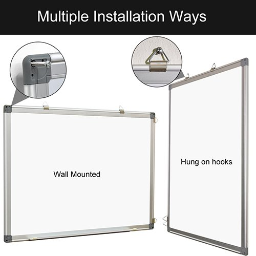 Magnetic White Board 24 x 18 Dry Erase Board Wall Hanging Whiteboard by maxtek (Image #1)