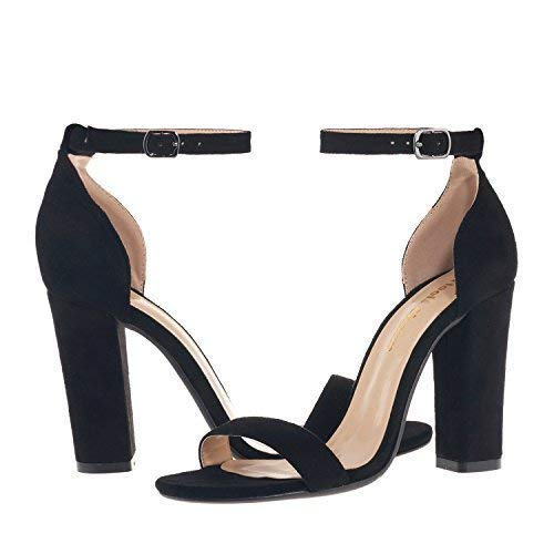 Women's Strappy Chunky High Heel Ankle Strap Sandals Open Toe Dress Sandal for Wedding Birthday Party Evening Office Shoes Velvet Black Size (Sandal Ankle Charm)