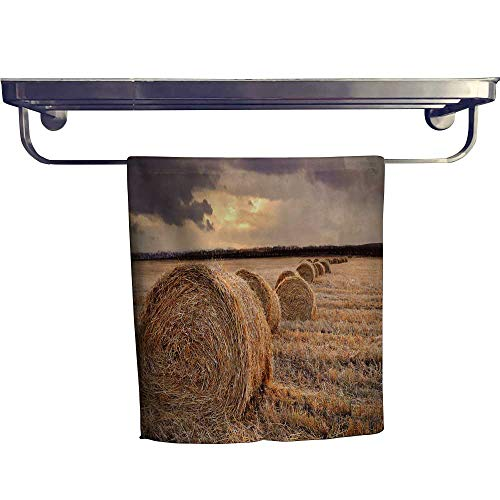 Leigh home Quick-Dry Towels,Autumn Harvest Rice Fields at Dusk,Microfiber Towel W 8