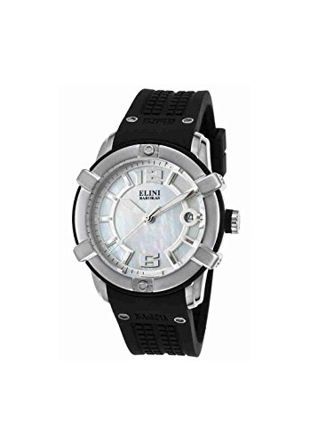 Elini Barokas 20005-02 Spirit Black Silicone Mother Of Pearl Dial Ss Watch (Pearl Dial Ss)