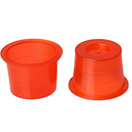 Ioffersuper 100x Small/Medium/Large Red Plastic Tattoo Ink Cups Caps Holder Pigment Supplies