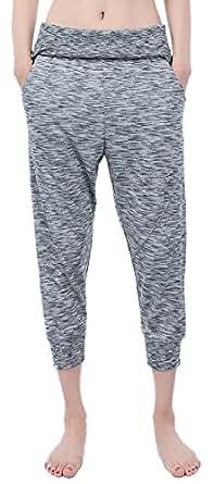 Mrignt Women's Cotton Fold Over High Waist Workout Leggings Yoga 3/4 Length Pants(Light Gray,X-Small)