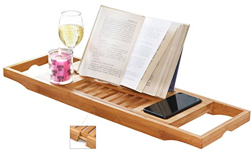 DOZYANT Bamboo Bathtub Caddy Tray Wooden Bath Tray Table with Extending Sides, Reading Rack, Tablet Holder, Cellphone Tray and Wine Glass Holder
