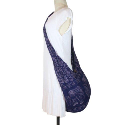 Hippie Elephant Sling Crossbody Bag Shoulder Bag Purse Thai Top Zip Handmade New Color : Blue -  Thailand