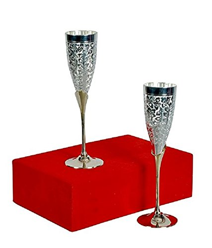 Anand Crafts Silver Plated Goblet Flute Wine Glass, Best for Parties, 100 ML Each, Set of 2