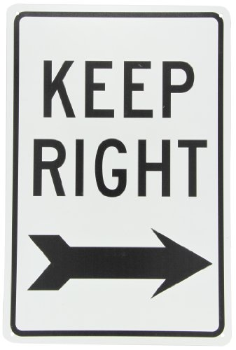 NMC TM27G KEEP RIGHT Sign - 12 in. x 18 in. Standard Aluminum Traffic Safety Sign with Black Arrow Graphic, Text on White - Aluminum Sign Standard