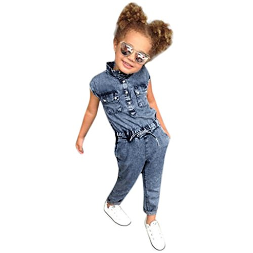 TIFENNY Baby Kids Bowknot Jeans Denim Romper Bodysuit Jumpsuit Casaul Cotton Clothes (4T, Blue)