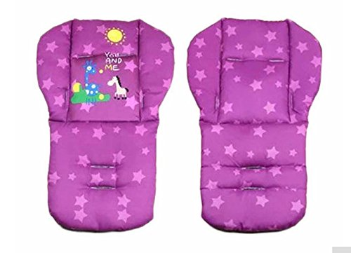Purple Color Baby Stroller Mat Cotton Cartoon Animal Printed Chair Seat Cushion Pad Soft Cushion Car Seat Thick Padding 0-36 Months