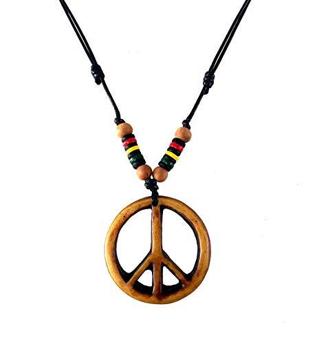 LAVIP Leather Peace Sign Pendant -Peace Symbol Necklace Rasta Plaid Hippie Braid Hemp Hawaiian
