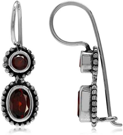 1.5ct. Natural Garnet Antique Finish 925 Sterling Silver Balinese Hook Earrings