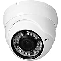 R-Tech 2MP (1080P) HD TVI Outdoor Turret Dome Security Camera with IR Night Vision – 2.8-12mm Varifocal Lens – White