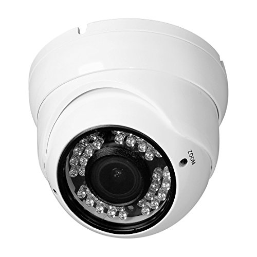 R-Tech RVD70W 1000TVL Outdoor Dome Security Camera with Night Vision and 2.8-12 mm Varifocal Lens (White)