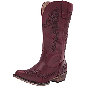 ROPER Womens Vintage Red Faux Leather Judith Cowboy Boots 10