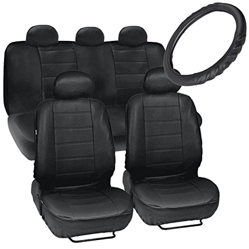 Motor Trend Premium Leatherette Car Seat Covers - Black PU Leather w/Comfort Grip Steering Wheel Cover