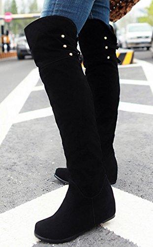 Idifu Damesschoenen Met Klassieke Studs En Hakken Aan De Binnenkant Verhogen Faux Suede Lange Overknee Laarzen Zwart