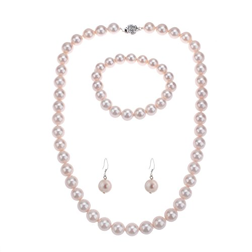 lureme Fashion Style Pearl Elastic Necklace Bracelet Dangle Earring (Pink Shell Pearl Necklace)