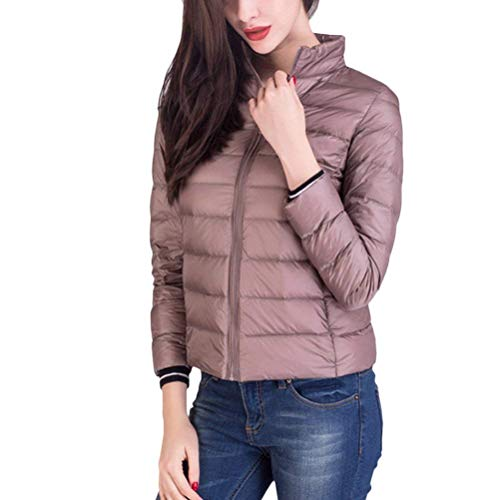 Adelina Down Jacket Women Autumn Winter Packable Mode Lightweight Down Coat Long Sleeve Stand Collar Slim Fit Fashion Elegant Transition Jacket Outwear Big Sizes Khaki