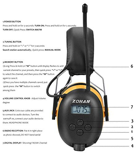 Digital AM/FM Radio Earmuff, ZOHAN TYPE-A Ear Protection With Stereo Radio, Perfect for Mowing (Yellow) by ZOHAN (Image #3)