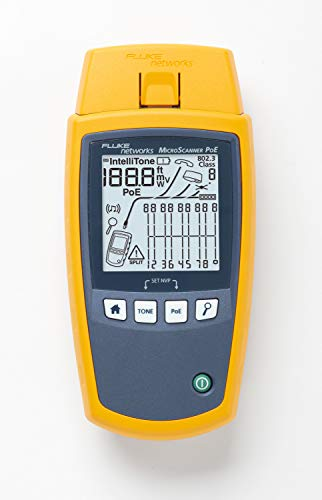 Fluke Networks MS-POE MicroScanner Copper Cable Verifier and PoE tester for RJ-45 Category 5-6A Ethernet Cables, Identifies Supplied Class 0-8 Power from Ethernet PSE Devices (Best Ethernet Cable For Poe)