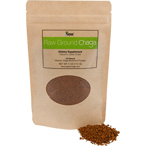 Sayan Siberian Raw Ground Chaga Powder 6 Oz (170g) | Wild Forest Mushroom Tea | Powerful Adaptogen Antioxidant Supplement | Support for Immune System, Digestive Health and Helps Inflammation Reduction