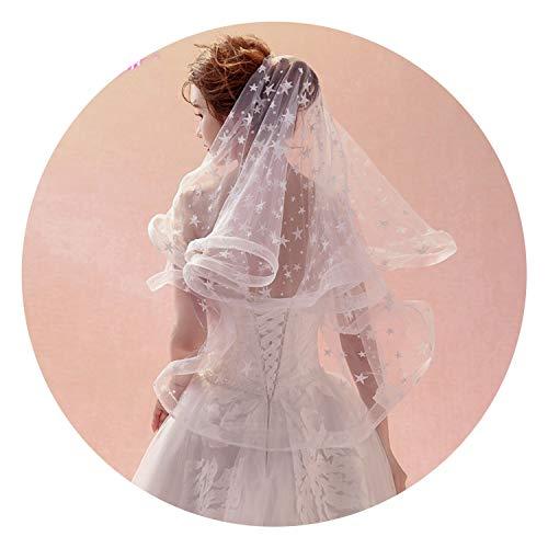 (1.5M Nature White Pencil Edge Wedding Bride Veil One-layer Applique Short Bridal)