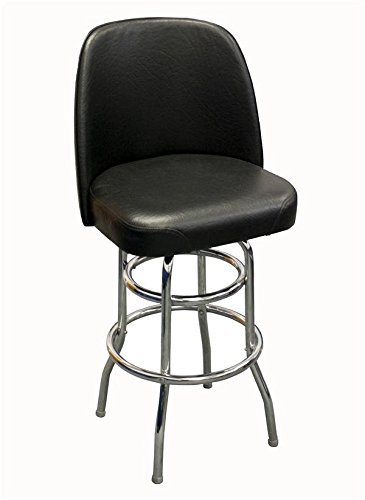 Chrome Round Tubing - American Tables & Seating SR-5J-BVS Swivel Bar Stool, Jumbo Bucket Seat and Chrome Double Ring Base, Welded 1