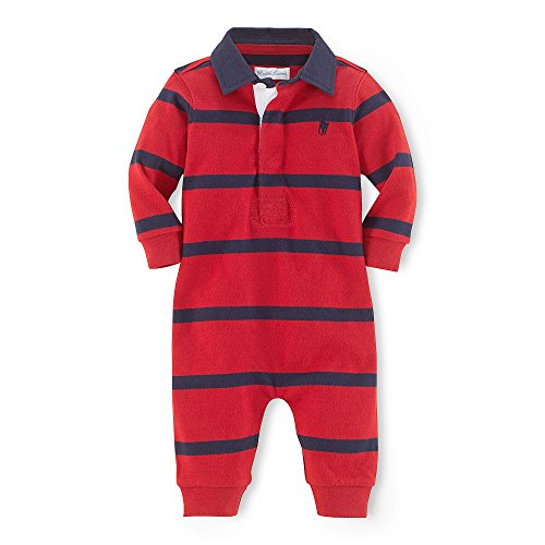 Shirt Ralph Boys Rugby Lauren (Polo Ralph Lauren Infant Boys Rugby Striped Coverall (3 Months, Red Multi))
