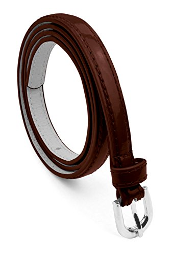 Womens Leather Belt with Polished Silver Belt Buckle - Glossy Solid Color Pu Leather Belts by Belle Donne - Brown Large (Brown Color Leather)