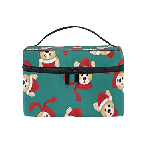 Travel Makeup Cosmetic Bags Corgi Santa Claus With Red ScarfToiletry Bags Makeup Suitcase For Women ()