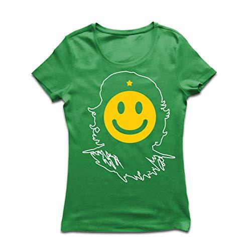 lepni.me Women's T-Shirt Anti-Communism, Political Protest Che Guevara Emoji (Medium Green Multi Color) for $<!--$14.94-->