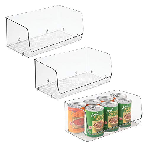 "Household Stackable Plastic Storage Organizer Bin Basket with Open Front for Kitchen Cabinets, Pantry, Offices, Closets, Bedrooms, Bathrooms - 12"" Wide, Pack of 3, Clear"