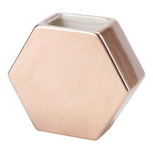 FLOOR | 9 Ceramic Bud Vase, Hexagon, Rose Gold, (Roses Vases)