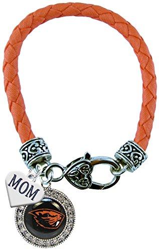 Oregon State Beavers Orange Leather Bracelet WITH MOM CHARM Jewelry OSU