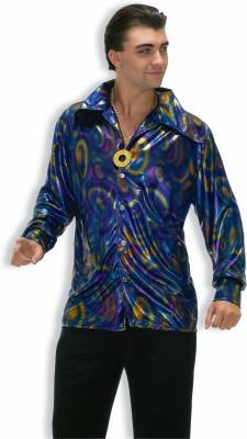 70's Costumes Sale (Forum Novelties Men's 70's Disco Dynamite Dude Costume Shirt, Purple/Gold/Blue, Standard)
