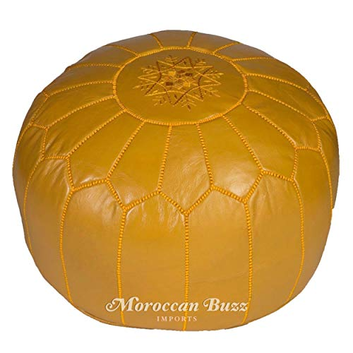 Moroccan Buzz Premium Leather Pouf Ottoman Cover, Mustard Yellow (UNSTUFFED Pouf) ()