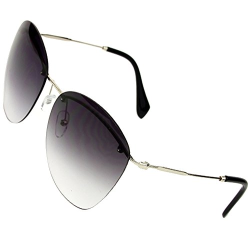 Sumery Fashion Designer Rimless Silver Or Gold Arm Sunglasses Women Ladies (Silver, - Invented The Who Bifocals
